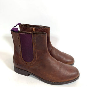 Clarks Girls Brown Leather Gobi Ankle Boots